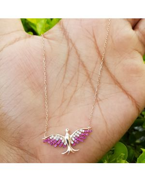 Silver Rose Gold Bird Pendant with Chain