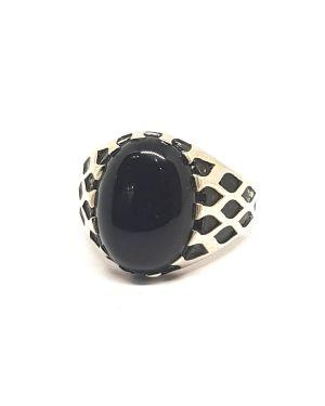 Silver Black Stone Turkish Ring