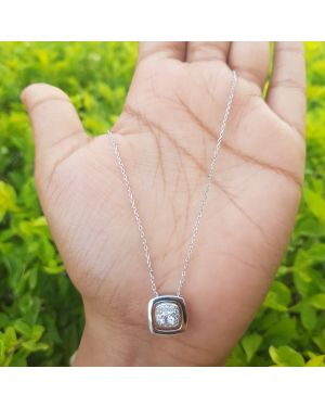 Silver Beautiful Stone Pendant with Chain