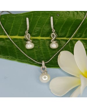 Silver Hanging Pearl Pendant set