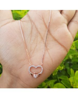 Silver Rose Gold Full Stone Heart Pendant with Chain