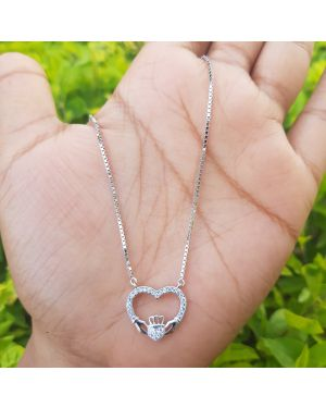 Silver Full Stone Heart Pendant with Chain