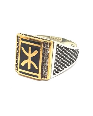Silver square shape ring