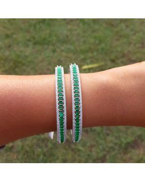Silver Emerald bangles