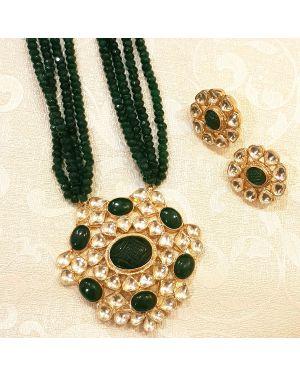 Silver Green Kundan Necklace