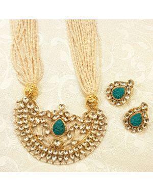 Silver turqoise kundan necklace