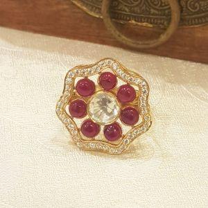Silver Kundan minimal ring