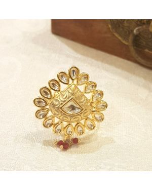 Silver cream meena ring