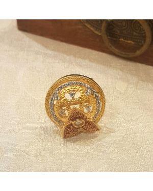 Silver kundan minimalistic ring