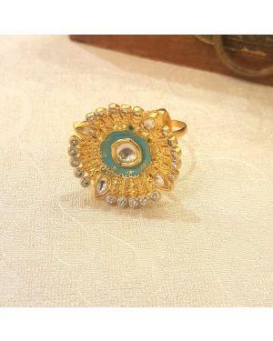 Silver blue meena ring