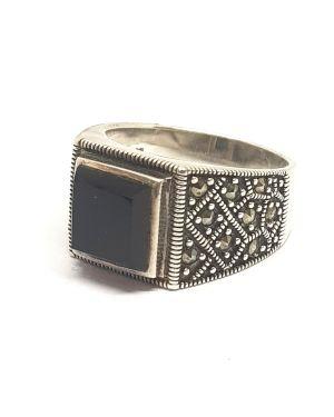 Silver black square ring