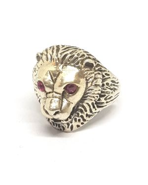 Silver lion face ring