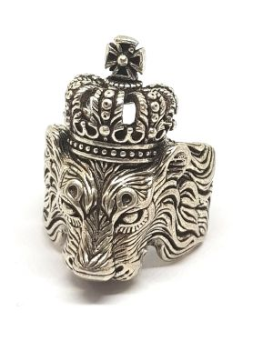Silver lion crown ring