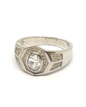 Silver stone setting ring