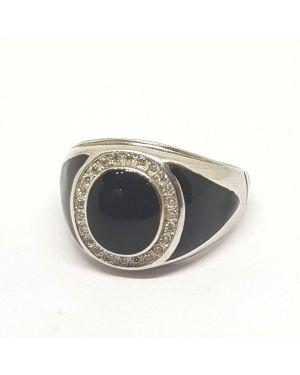 Silver black ring