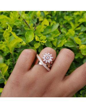 Silver rose gold flower ring