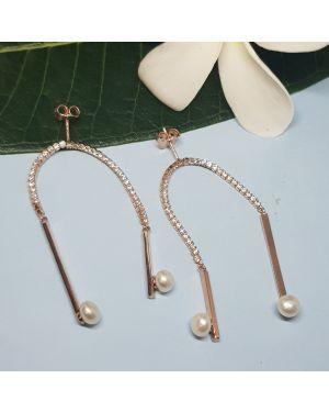 Silver rose gold designer earrings