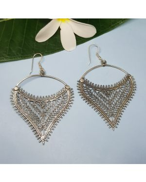 Silver filigree hanging earrings
