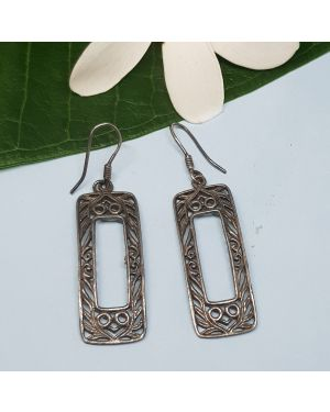 Silver rectangular box earrings