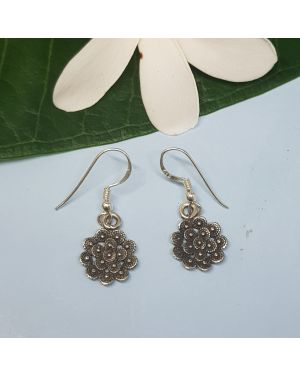 Silver mini flower earring