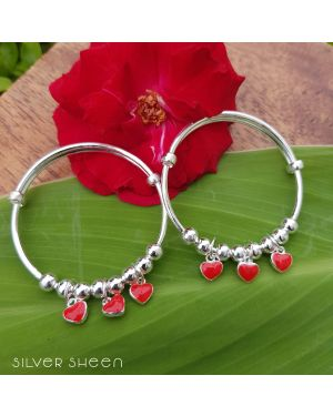 SILVER RED HEART CHARMS