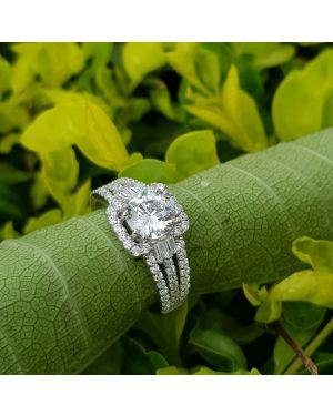 SILVER SOLITAIRE 3 LINE RING