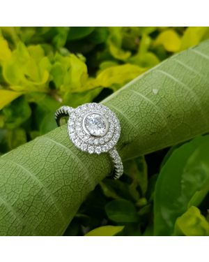 Silver cz stone  ring