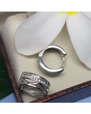 Silver Stylish Design Stone Bali Pair