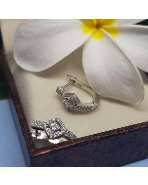 Silver Princess Cut Small Stone Bali Pair
