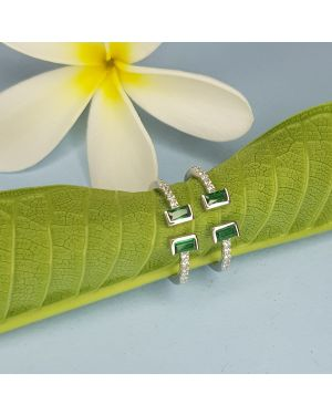 SILVER 925 4 STONE TOE RING GREEN