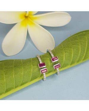 SILVER 925 4 STONE TOE RING PINK