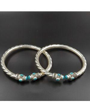 Silver Turquoise Leg Kada