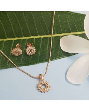 Silver Rose Gold Princess Pendant Set