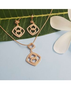 Silver Rose Gold square Pendant Set