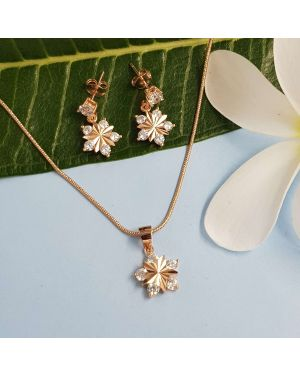 Silver Rose Gold Star 5 Stone Pendant Set