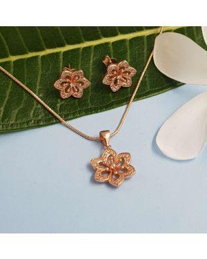 Silver Rose Gold Flower Pendant Set