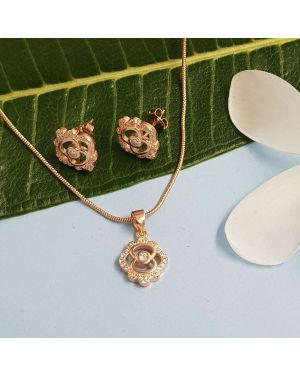 Silver Rose Gold Beautiful Design Pendant Set