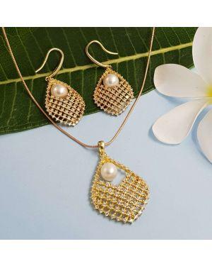 Silver Gold Pearl Pendant Set