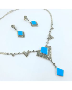 Silver Blue Stone Traditional Necklace Set