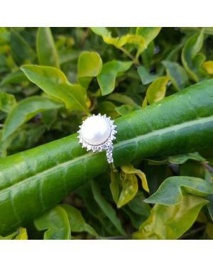 Silver Single Pearl Ring
