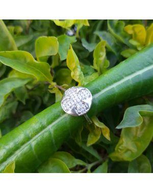 Silver 4 Leaf Flower Ring