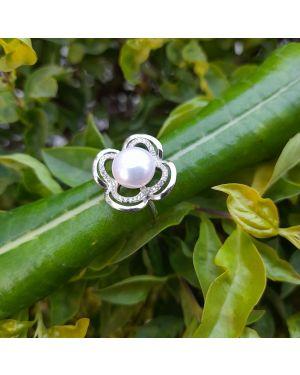 Silver Mid Pearl Designer Ring