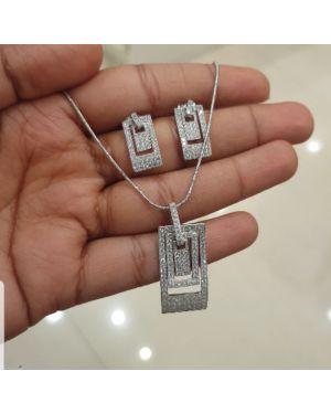 Silver Multi Rectangular Pendant Set