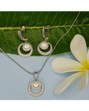 Silver Cute Pearl Pendant Set