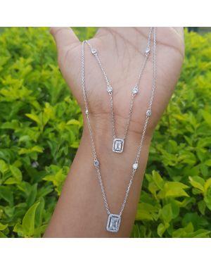 Silver Dual Chain Stone Pendant