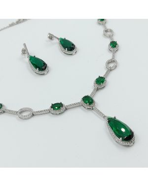 Silver Green Stone Necklace