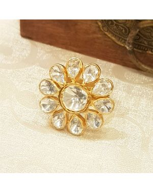 Silver flower kundan ring