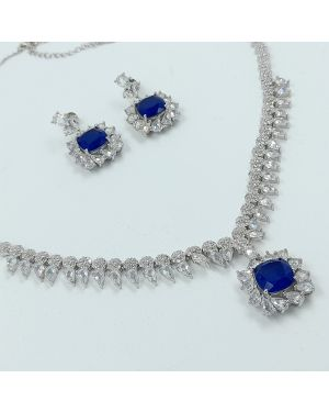 Silver Blue Stone Necklace Set