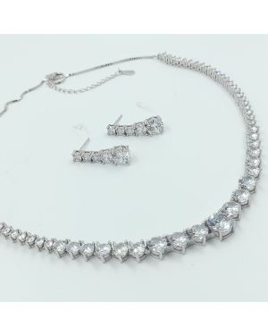 Silver Cubic Zirconia Necklace Set