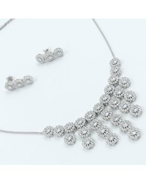 Silver Solitaire Hanging Stone Necklace Set